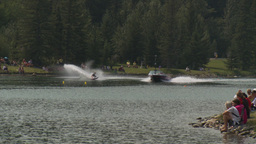 HD2009-8-23-6RC water ski comp female wipeout Stock Video Footage