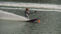HD2009-8-23-18RC water ski comp good cu follow Stock Video Footage