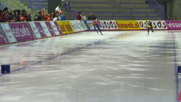 HD2009-12-1-12 Speed skating oval race follow Footage