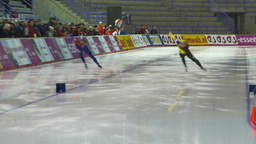 HD2009-12-1-12 Speed skating oval race follow Stock Video Footage