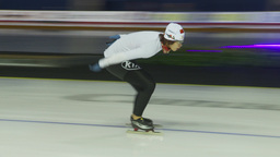 HD2009-12-1-20 Speed skaters practise Stock Video Footage