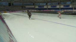 HD2009-12-1-22 Speed skaters practise Stock Video Footage