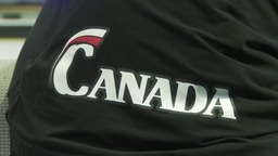 HD2009-12-1-26 Speed skate Canada jacket Stock Video Footage