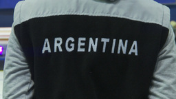 HD2009-12-1-28 Speed skate Argintina jacket Stock Video Footage