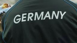 HD2009-12-1-30 Speed skate Germany jacket Stock Video Footage