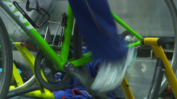 HD2009-12-1-40 stationary bike trg Stock Video Footage