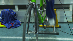 HD2009-12-1-42 stationary bike trg Stock Video Footage