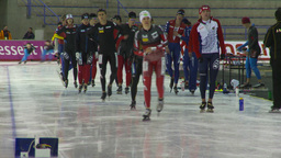 HD2009-12-1-44 Speed skaters practise Stock Video Footage