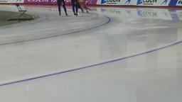 HD2009-12-1-48 Speed skaters practise lower Stock Video Footage