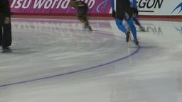 HD2009-12-1-50 Speed skaters practise lower Stock Video Footage