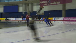 HD2009-12-1-52 Speed skaters practise corner Stock Video Footage