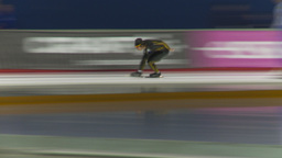 HD2009-12-1-54 Speed skaters practise blur follow Stock Video Footage