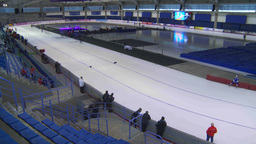 HD2009-12-1-60 Speed skating oval WS TL Stock Video Footage