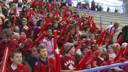 HD2009-12-1-66 kids crowd chant let's go Canada Stock Video Footage