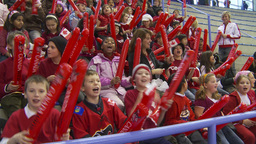 HD2009-12-1-66 kids crowd chant let's go Canada Footage