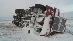 HD2009-12-3-2 montage rolled semi winter Stock Video Footage
