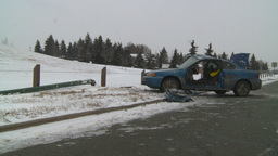 HD2009-2-1-3 auto accident 3-shot Footage