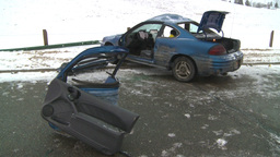 HD2009-2-1-3 auto accident 3-shot Stock Video Footage