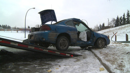 HD2009-2-1-5 auto accident car onto tow truck Footage
