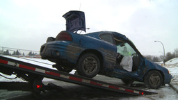 HD2009-2-1-5 auto accident car onto tow truck Stock Video Footage