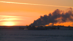 HD2009-2-1-11 Gas plant at sunrise Stock Video Footage