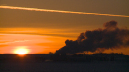HD2009-2-1-13 Gas plant at sunrise Stock Video Footage