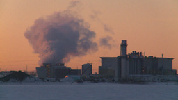 HD2009-2-1-15 power generation plant at sunrise Stock Video Footage