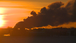 HD2009-2-1-19 Gas plant at sunrise Footage