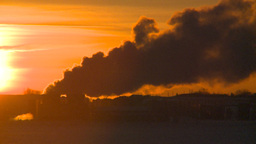 HD2009-2-1-19 Gas plant at sunrise Stock Video Footage