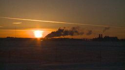 HD2009-2-1-21 Gas plant at sunrise Stock Video Footage