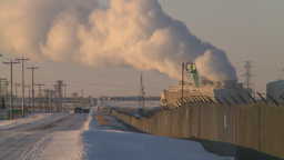 HD2009-2-1-31 power generation plant at sunrise Stock Video Footage