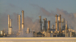 HD2009-2-1-37 Gas plant at sunrise stacks steam Stock Video Footage