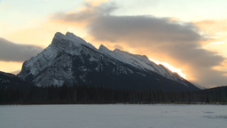 HD2009-1-1-13 TL sunrise Mt Rundle Banff Footage