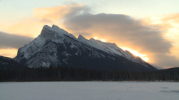 HD2009-1-1-13 TL sunrise Mt Rundle Banff Stock Video Footage