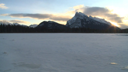 HD2009-1-1-18 sunrise Mt Rundle frozenlake Banff Stock Video Footage