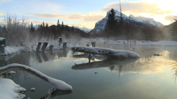 HD2009-1-1-20 sunrise Mt Rundle winter spring Banff Footage