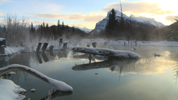 HD2009-1-1-20 sunrise Mt Rundle winter spring Banff Stock Video Footage