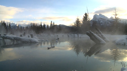 HD2009-1-1-22 sunrise Mt Rundle winter spring Banff Footage