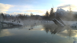 HD2009-1-1-22 sunrise Mt Rundle winter spring Banff Stock Video Footage