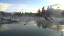 HD2009-1-1-22 sunrise Mt Rundle winter spring Banff Stock Video Footage