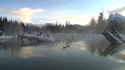HD2009-1-1-24 sunrise Mt Rundle winter spring Banff pan Stock Video Footage