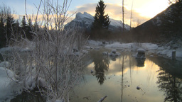HD2009-1-1-28 sunrise Mt Rundle winter spring Banff Stock Video Footage