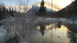 HD2009-1-1-28 sunrise Mt Rundle winter spring Banff Footage