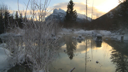 HD2009-1-1-28 sunrise Mt Rundle winter spring Banff Stock Video Footage