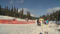 HD2009-1-1-42 Banff ski hill skiers Stock Video Footage