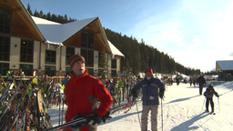 HD2009-1-1-45 Banff ski hill skiers Stock Video Footage