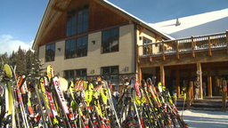 HD2009-1-1-47 Banff ski hill skiers chalet Stock Video Footage