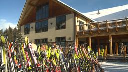 HD2009-1-1-47 Banff ski hill skiers chalet Footage