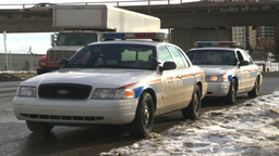 HD2009-1-5-7 police cars Stock Video Footage