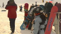 HD2009-1-5-21 ski hill snowbaords waiting Stock Video Footage